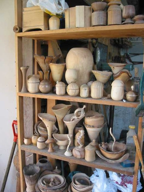 A few examples of Ken Grunke's woodturnings, a shelf of semi-finished items in the woodshop. Visit Ken's home page to see more.